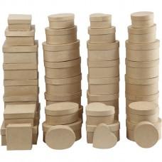 Set van 4 doosjes - papier maché geschikt voor Foam Clay Hart - Rond - Vierkant - Ovaal