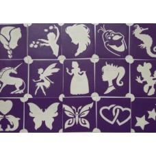 Glittertattoo sjablonen set meisjes (15 stuks)