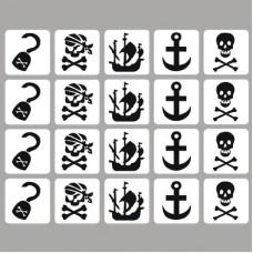 Glittertattoo sjablonen set Piraat (20 stuks)