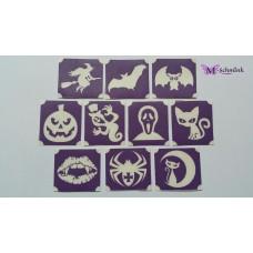 Glittertattoo sjablonen set Halloween (10 stuks)