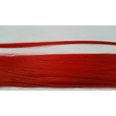 10 synthetische hair feathers effen - ROOD + ring