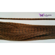 10 synthetische hair feathers grizzly - BRUIN + ring