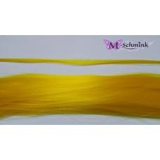 10 synthetische hair feathers effen - GEEL + ring