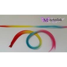 10 REGENBOOG hair feathers EFFEN (ca. 55 cm.) + ring