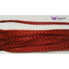 10 synthetische hair feathers grizzly - ROOD + ring