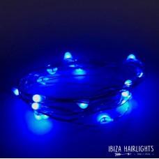 Ibiza hair lights BLAUW + body strass OP=OP