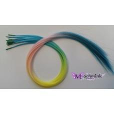10 REGENBOOG hair feathers PASTEL LICHT (ca. 55 cm.) + ring