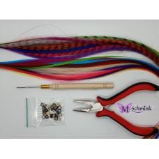ACTIE Starters set hair feathers 12 effen/12 gestreept + ringetjes + inzetnaald + knijptang