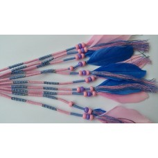 Ibiza wrap met veer   Roze / Pastel blauw (nieuw)