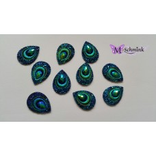 Body jewels DRUPPEL 10 st. kleur PAUW blauw/groen
