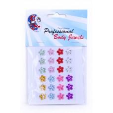 Body Strass steentjes bloem medium 24 stuks a 10 mm.