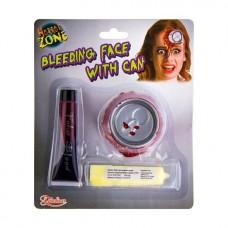 ACTIE  Applicatie blikje in het gezicht + latex + bloed